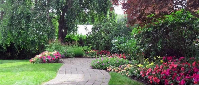 Walkway through flower beds